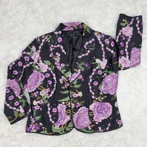 E by Eci 100% silk embroider blazer size 14 EUC